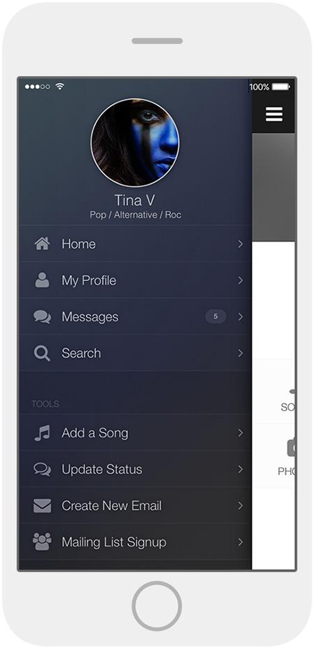 ReverbNation Mobile Control Room Menu on iPhone.