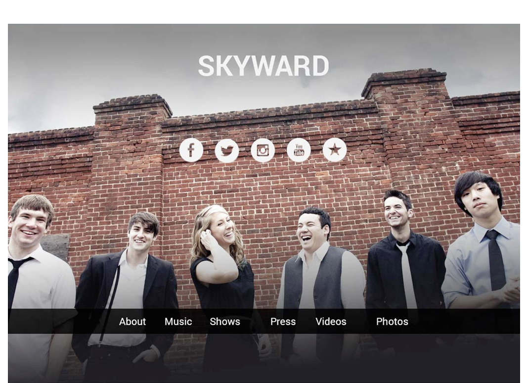 Sample of musician website on desktop browser.