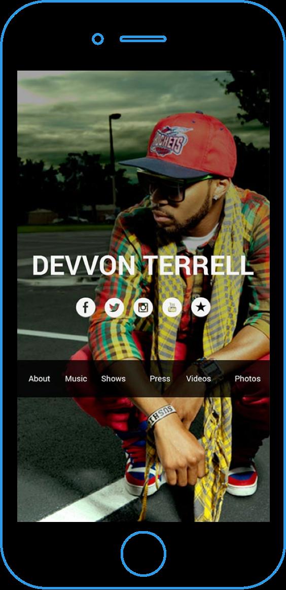 Sample of musician website on desktop browser.