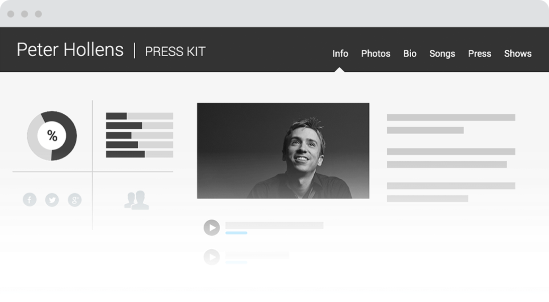 Sample of Electronic Press Kit on desktop browser.