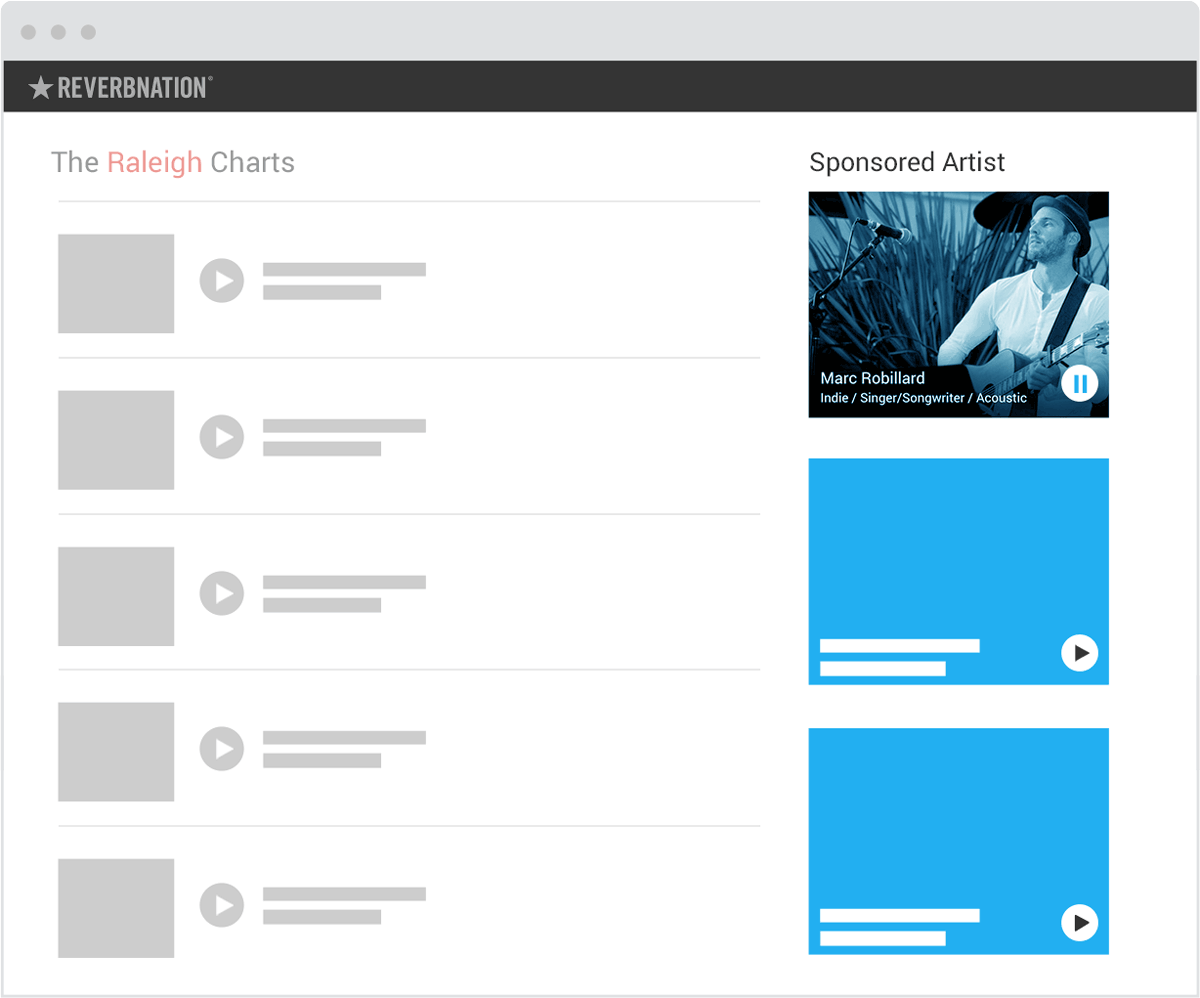 Example of three Sponsored Artist Ad slots