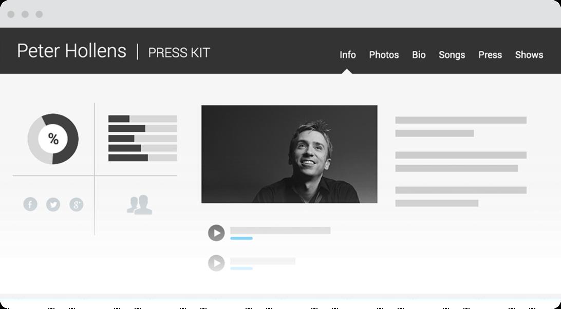 Sample of Electronic Press Kit on desktop browser.